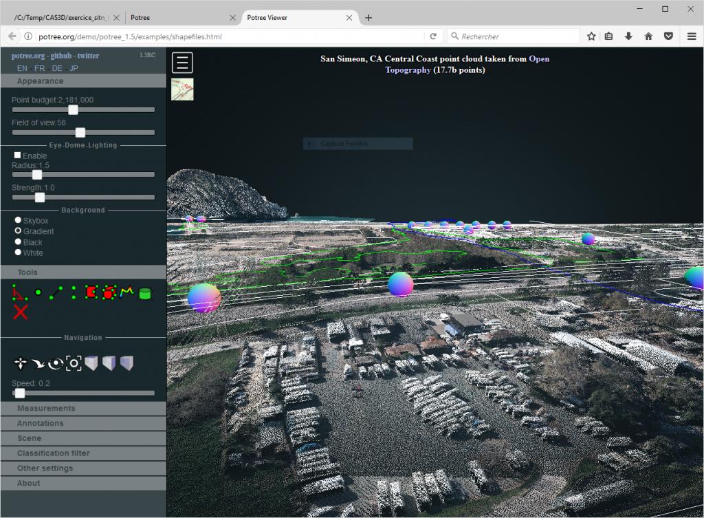 Vue de données dans Potree